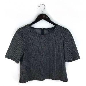 Theory Hesha Ellis Gray Tweed Plaid Crop Top S